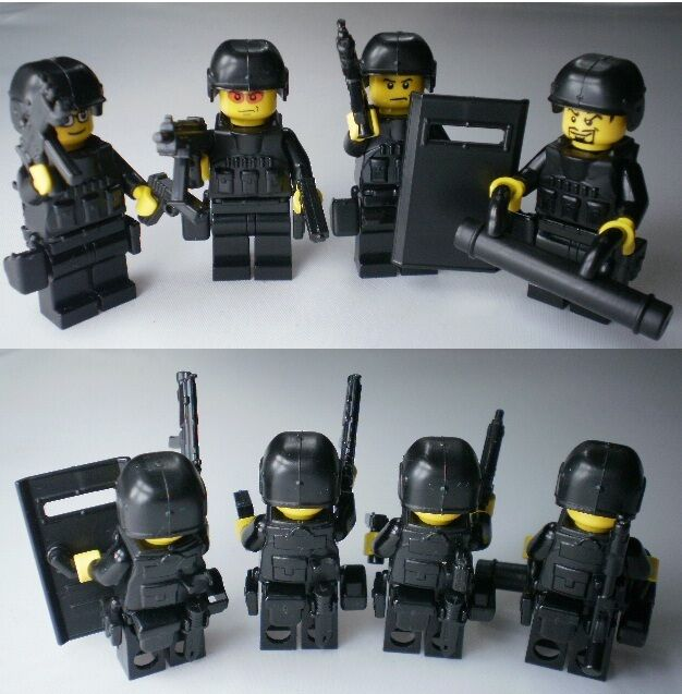 no.4-2 ) custom lego swat team weapson police army guns helmet ...