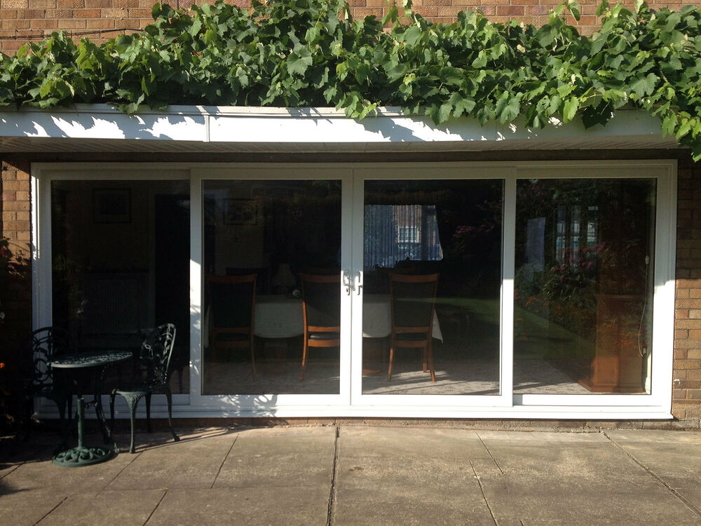 White synseal upvc 4 pane sliding patio doors 4250mm wide for Double wide patio doors