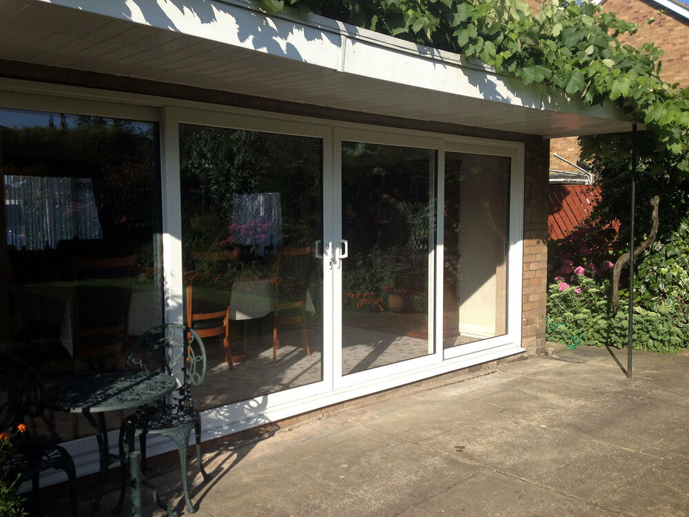 Upvc 4 pane sliding patio doors 3300mm wide x 2100mm for Wide sliding patio doors