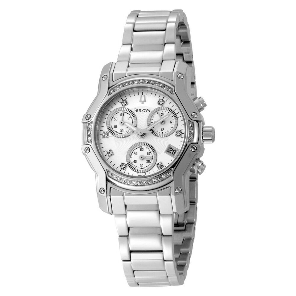 bulova womens 96r138 diamond dial watch chronograph new ebay