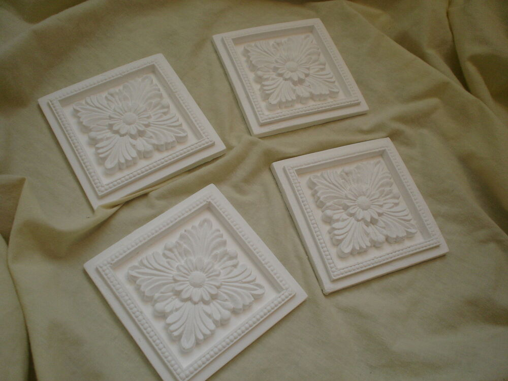 Ornate Architectural Mouldings : Four ornate large square flower petal centers white