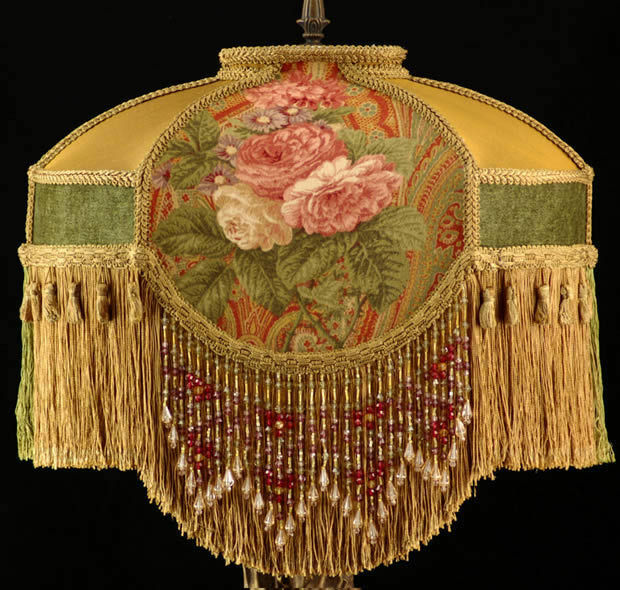 Victorian Lampshade Waverly Roses Fabric Sage Rust Gold