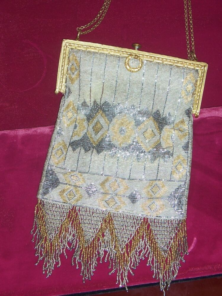 French Beaded Gold And Silver Evening Bag With Mirror