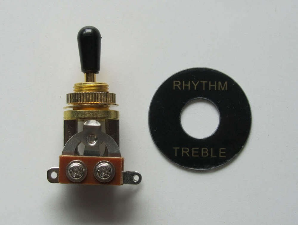 gold 3 way guitar toggle switch black tip and plate fits les paul sg epiphone ebay. Black Bedroom Furniture Sets. Home Design Ideas