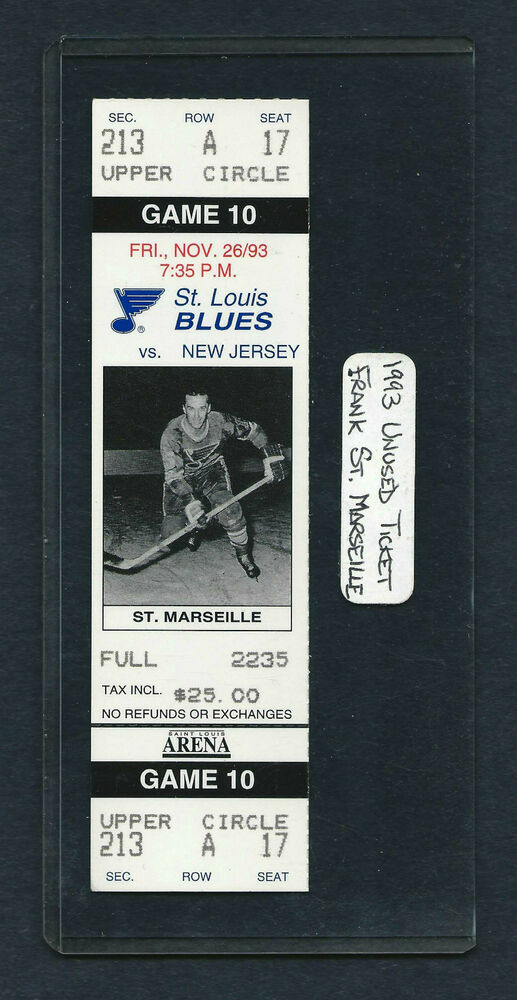 1993 unused st louis hockey ticket frank st marseille for devils at the blues ebay. Black Bedroom Furniture Sets. Home Design Ideas