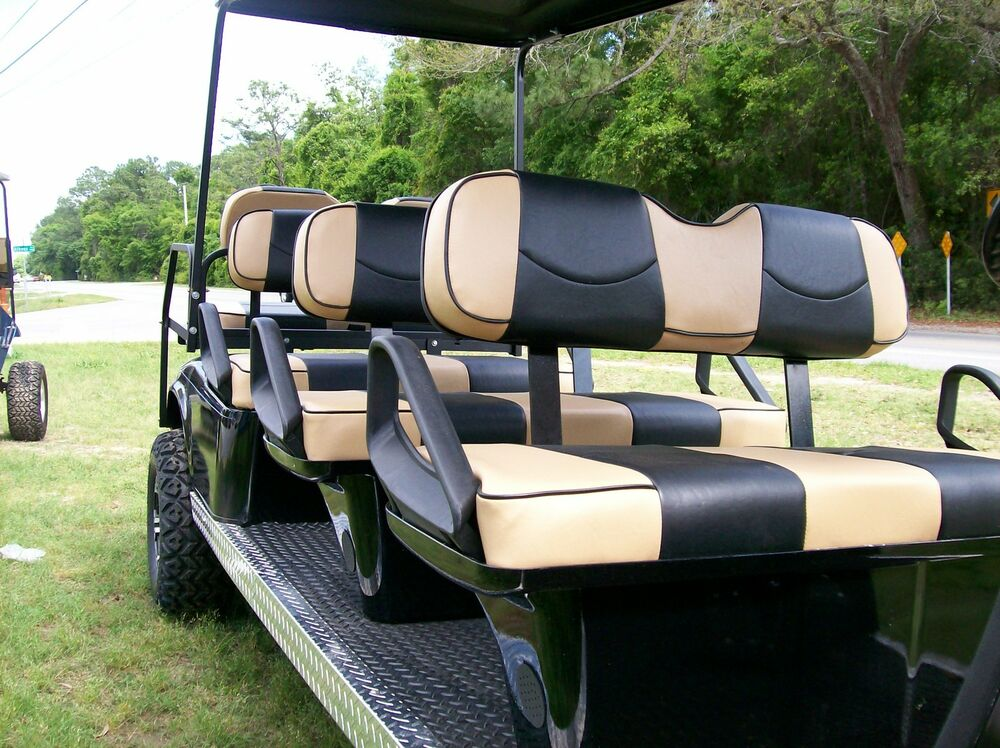 club car precedent golf cart deluxe seat covers staple on tan black piping ebay. Black Bedroom Furniture Sets. Home Design Ideas