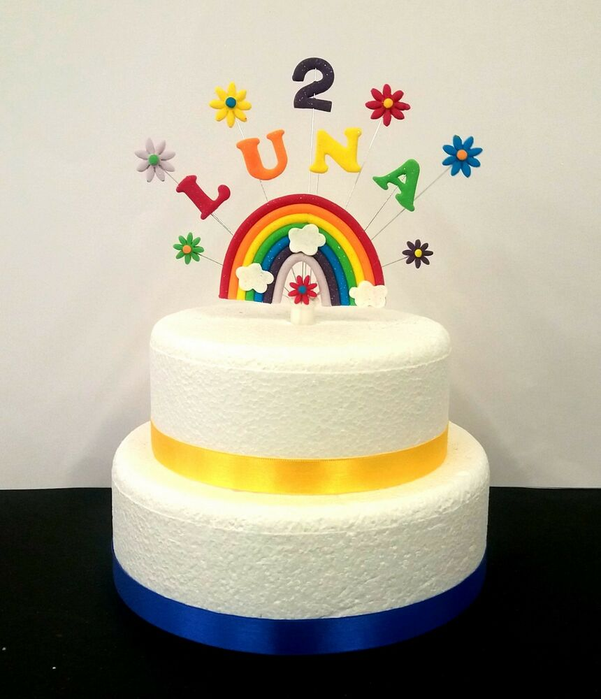 rainbow cake topper rainbow personalised any name and age birthday 6945