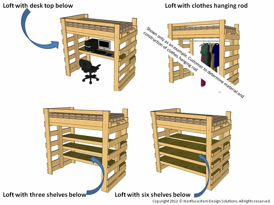 Single Twin Loft Bed, Bunk Bed Plans for College Dorm or Children ...