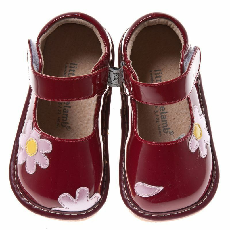 Little Blue Lamb Red Mary Janes Leather Squeaky Shoes Baby