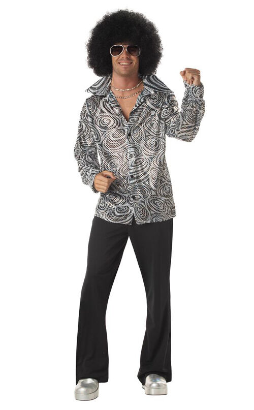 saturday night fever groovy disco shirt and wig adult