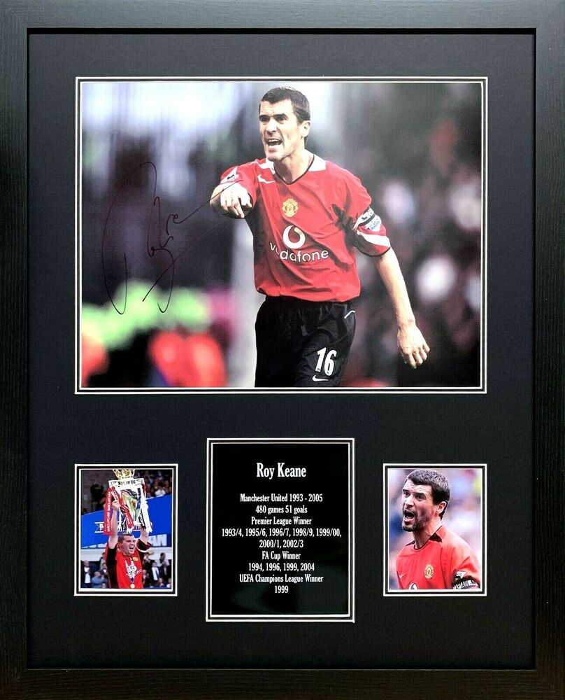 7f6846fa47a Details about FRAMED ROY KEANE SIGNED MANCHESTER UNITED 16x12 FOOTBALL  PHOTO COA   PROOF