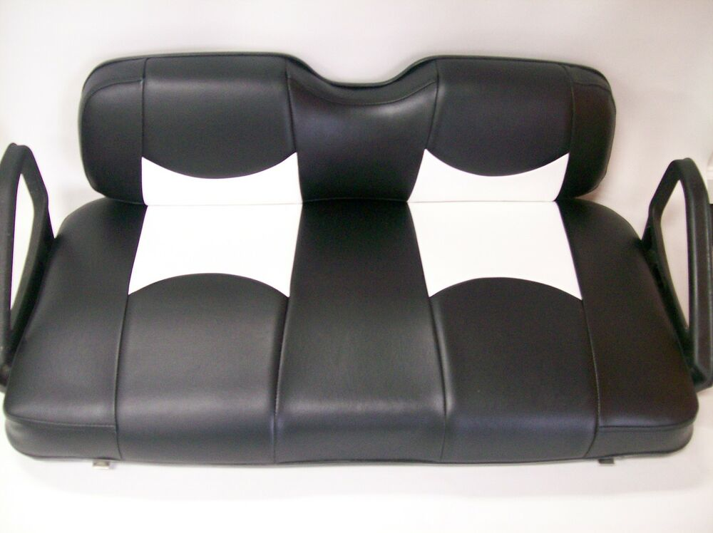 club car ds 39 00 up golf cart front seat replacement covers set blck wht btm ebay. Black Bedroom Furniture Sets. Home Design Ideas