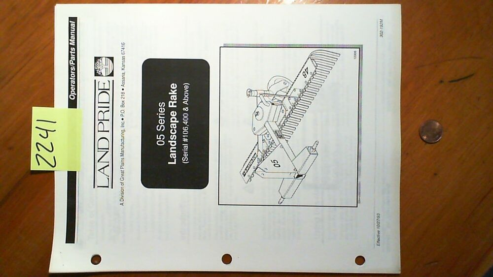 Land Pride 25 72 manual