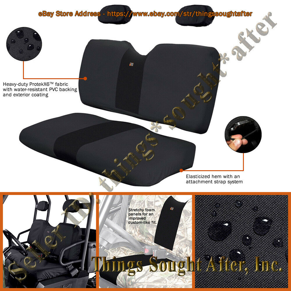black seat cover for 2008 polaris ranger 2x4 4x4 6x6 500 700 crew bench set ebay. Black Bedroom Furniture Sets. Home Design Ideas