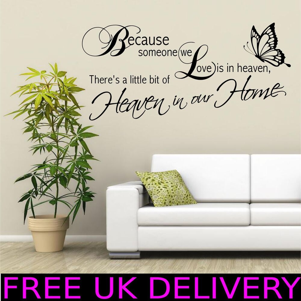 Heaven home family wall quotes wall art stickers decal for Decor mural wall art