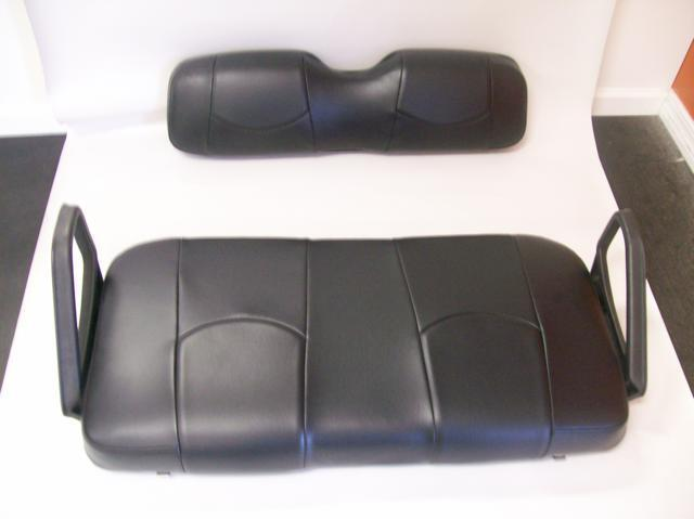 ezgo txt golf cart front seat replacement seat cover set all black ebay. Black Bedroom Furniture Sets. Home Design Ideas