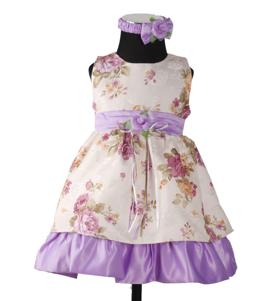 New Baby Cream and Lilac Satin Party Dress with Headband