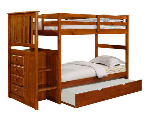twin twin or twin full stairway bunk bed w chest staircase bunk ships free ebay. Black Bedroom Furniture Sets. Home Design Ideas