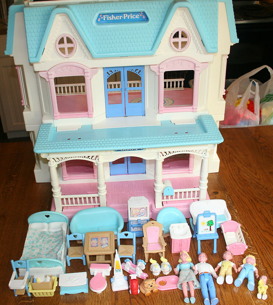 vintage retired fisher price toy dream dollhouse loving family furniture set lot ebay. Black Bedroom Furniture Sets. Home Design Ideas