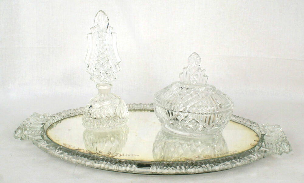 Antique 3 Piece Glass Vanity Set Perfume Bottle Trinket