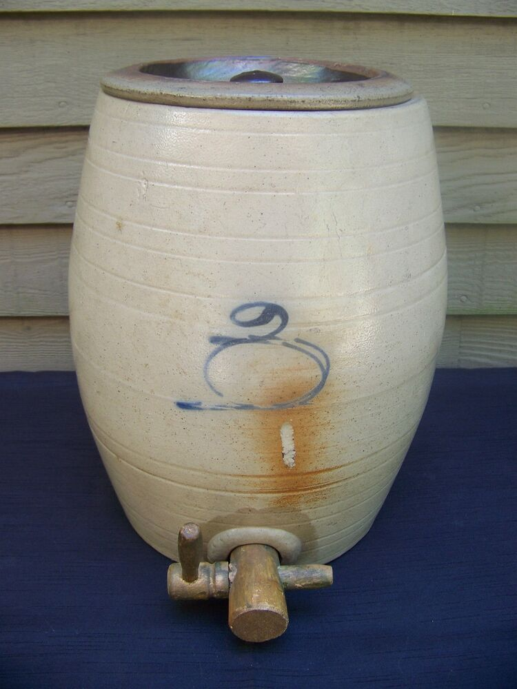 Blue Decorated Stoneware 3 Gallon Water Cooler Red Wing