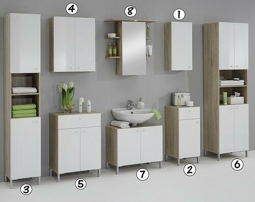 Luxury bilbao matching white washed oak bathroom vanity unit cabinets cupboard ebay for Cheap bathroom storage cabinets