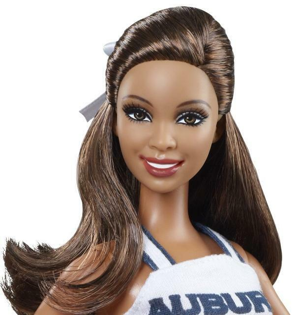 12 African American Cheerleading Images From The Past: Barbie University Of AUBURN TIGERS Cheerleader Pink Label