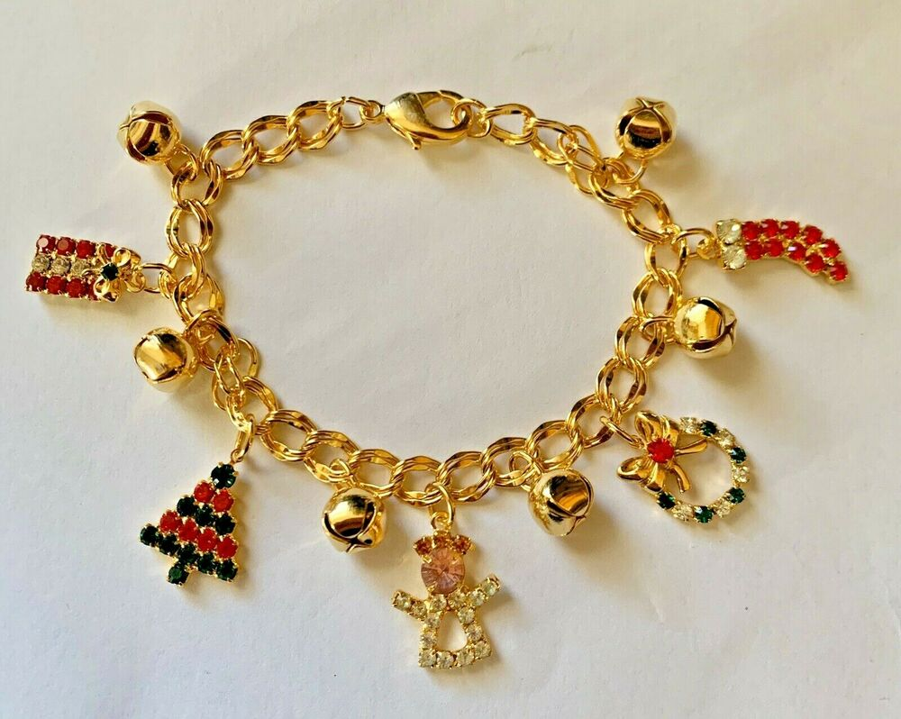 Vintage Christmas Rhinestone Charm Jingle Bells Bracelet