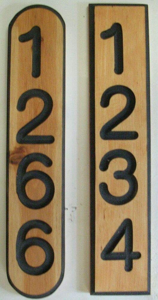 address plaque address sign mailbox numbers house number carved cedar 4 ebay. Black Bedroom Furniture Sets. Home Design Ideas