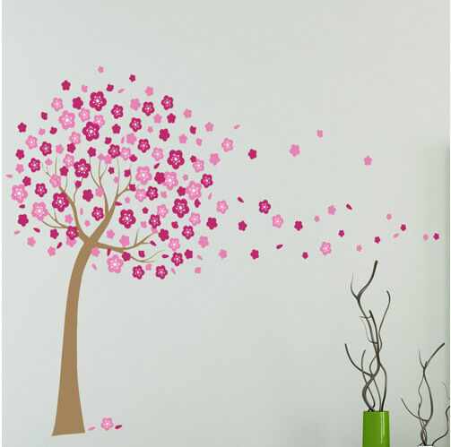 Pink cherry blossom flowers tree huge wall stickers art for Cherry blossom wallpaper mural