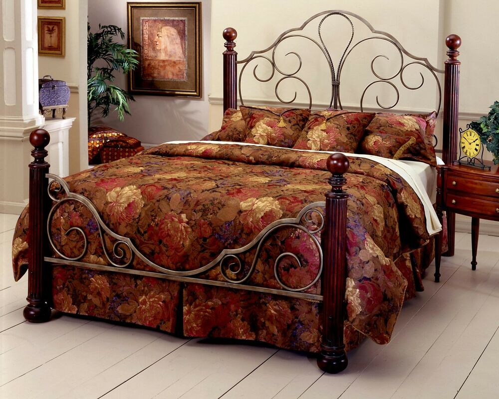 Metal Beds Queen Size Bed Frame Queen Size Industrial Bed: NEW Ardisonne Silver/Cherry Queen Size Iron/Wood Bed