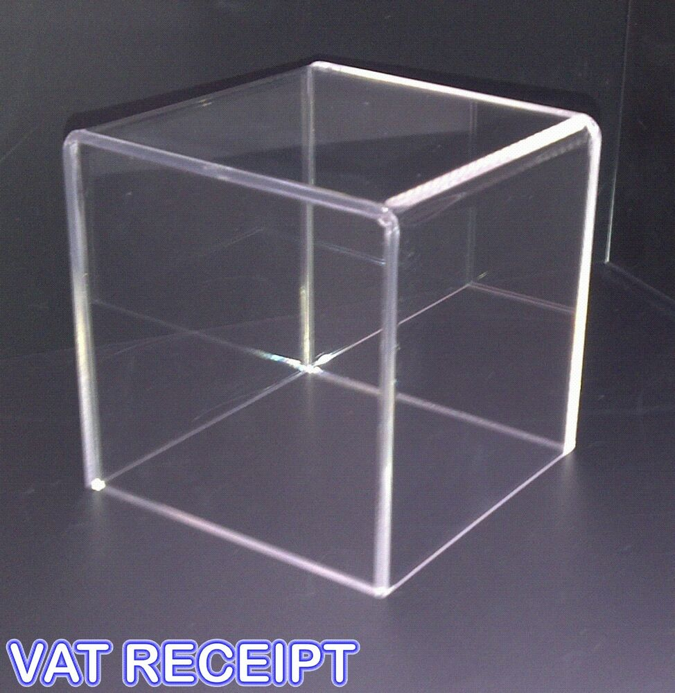 300mm acrylic display cube retail display stand perspex box display ebay. Black Bedroom Furniture Sets. Home Design Ideas
