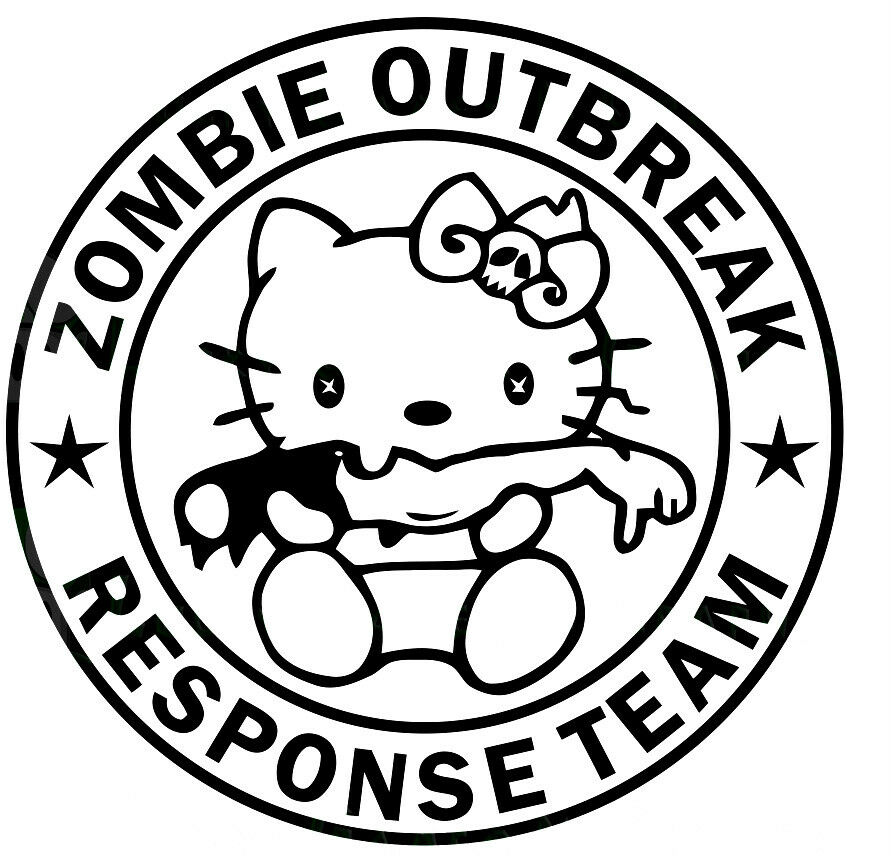 Hello Kitty Zombie Coloring Pages : Hello kitty zombie response team car truck sticker