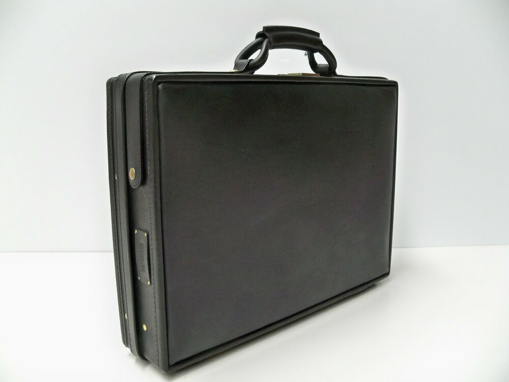 "Hartmann Belting Leather Black Slim Attache 4"" Briefcase ..."