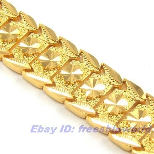 7 7 quot 16mm42g real exalted 18k yellow gold gp bracelet