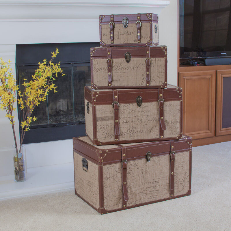 Set Of 4 Stacking Home Decor Storage Trunks (Chests) W