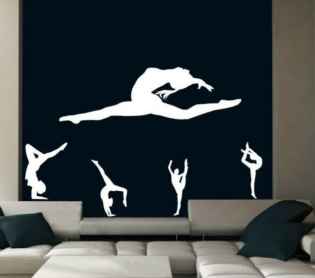 Set of gymnastics beautiful decals wall stickers amazing for Beautiful barbie wall decals
