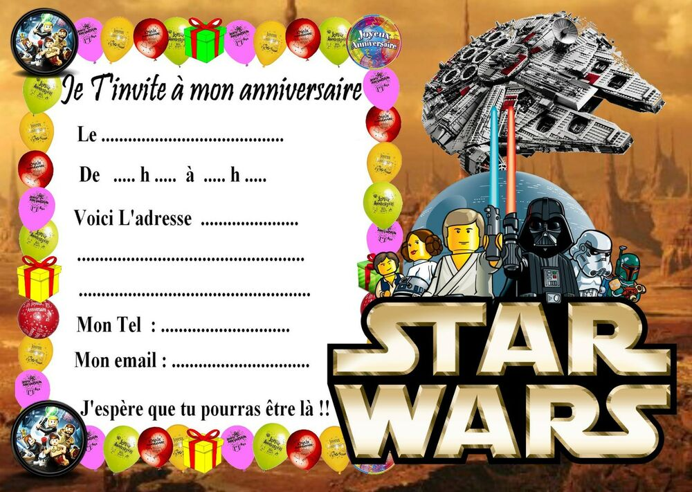 5 cartes invitation anniversaire lego star wars 04 d. Black Bedroom Furniture Sets. Home Design Ideas