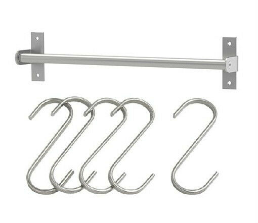"IKEA Rail 23"" + 5 Hooks Pot Pan Lid Utensil Rack Caddy"