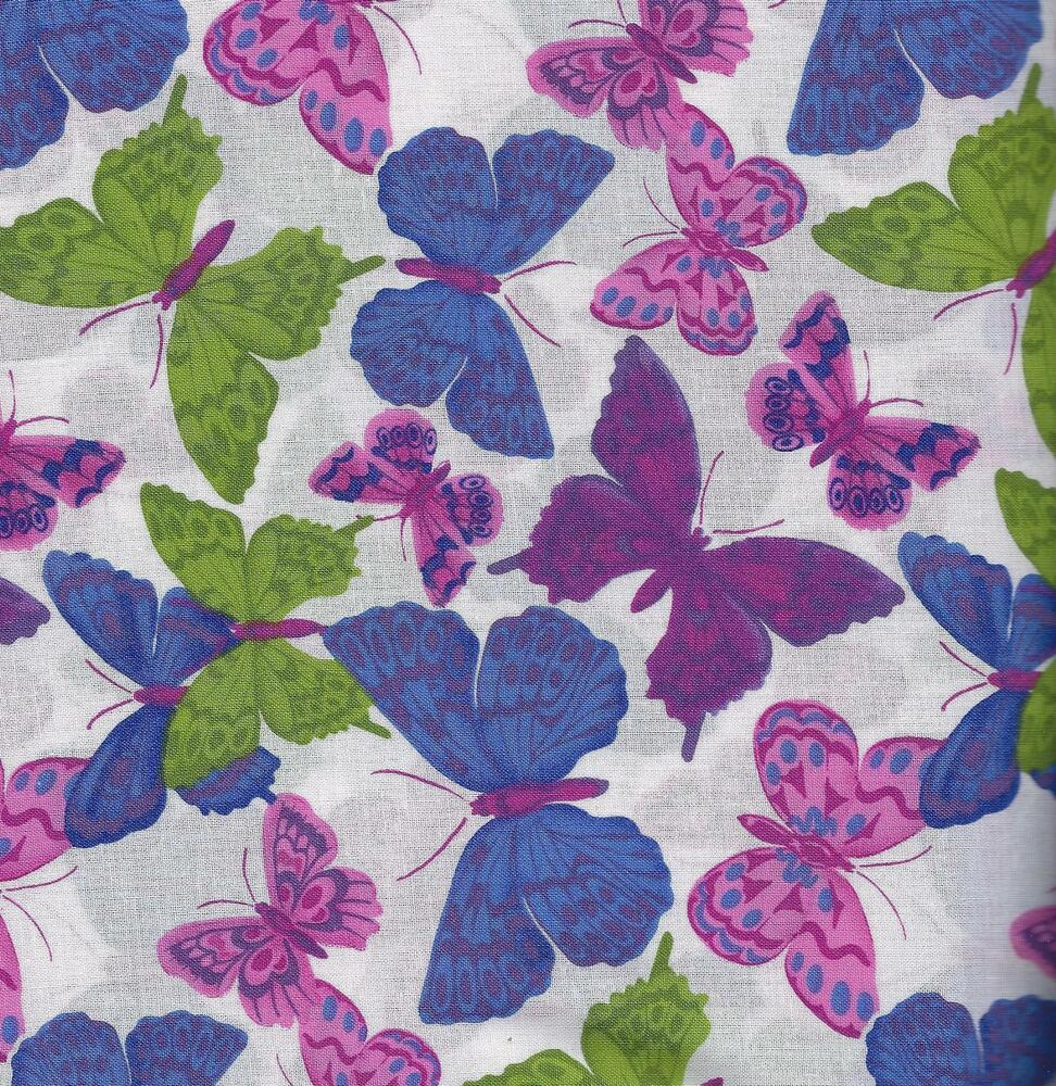 quilt fabric 100 cotton hydrangea butterfly 1012112 by the yard ebay. Black Bedroom Furniture Sets. Home Design Ideas