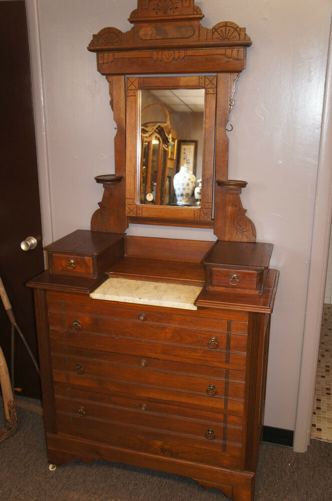 Antique Eastlake Victorian Walnut Dresser Vanity Marble