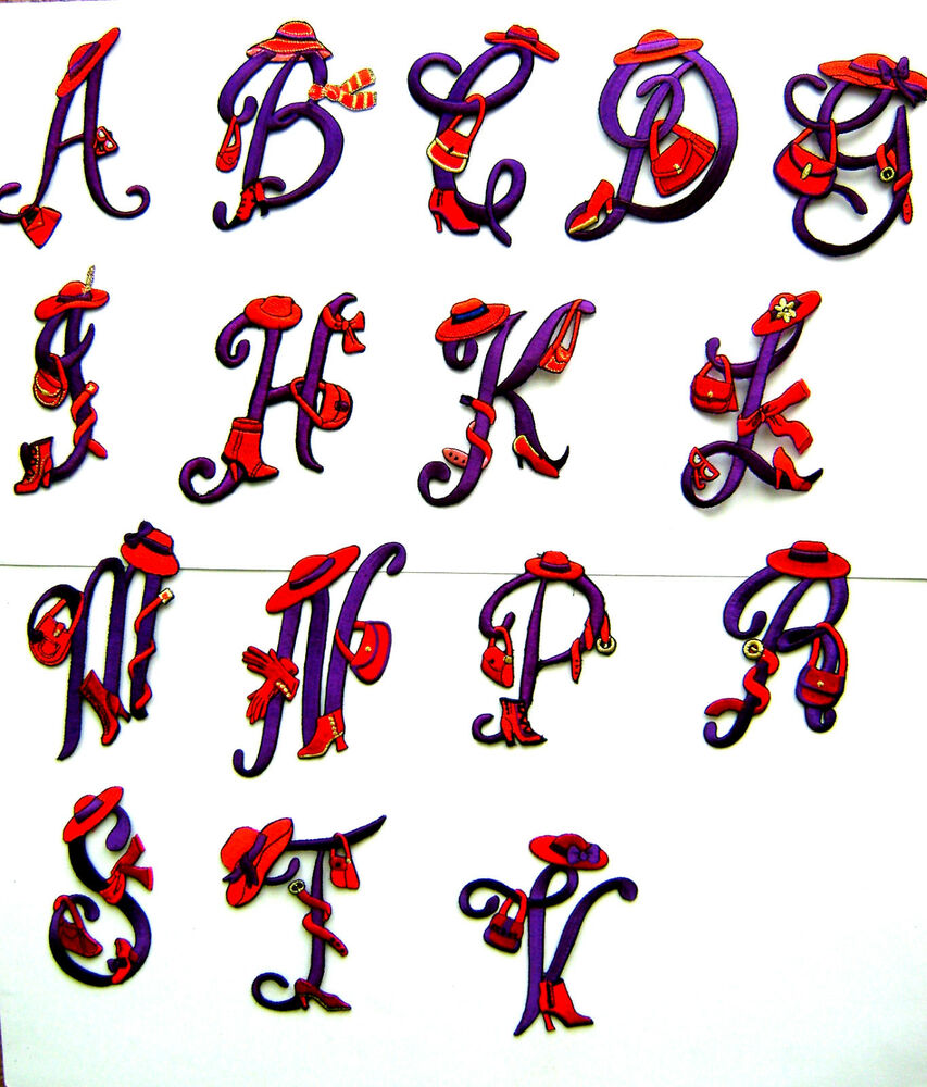 Alphabet letter initials red hat lady embroidered iron for Embroidered alphabet letters