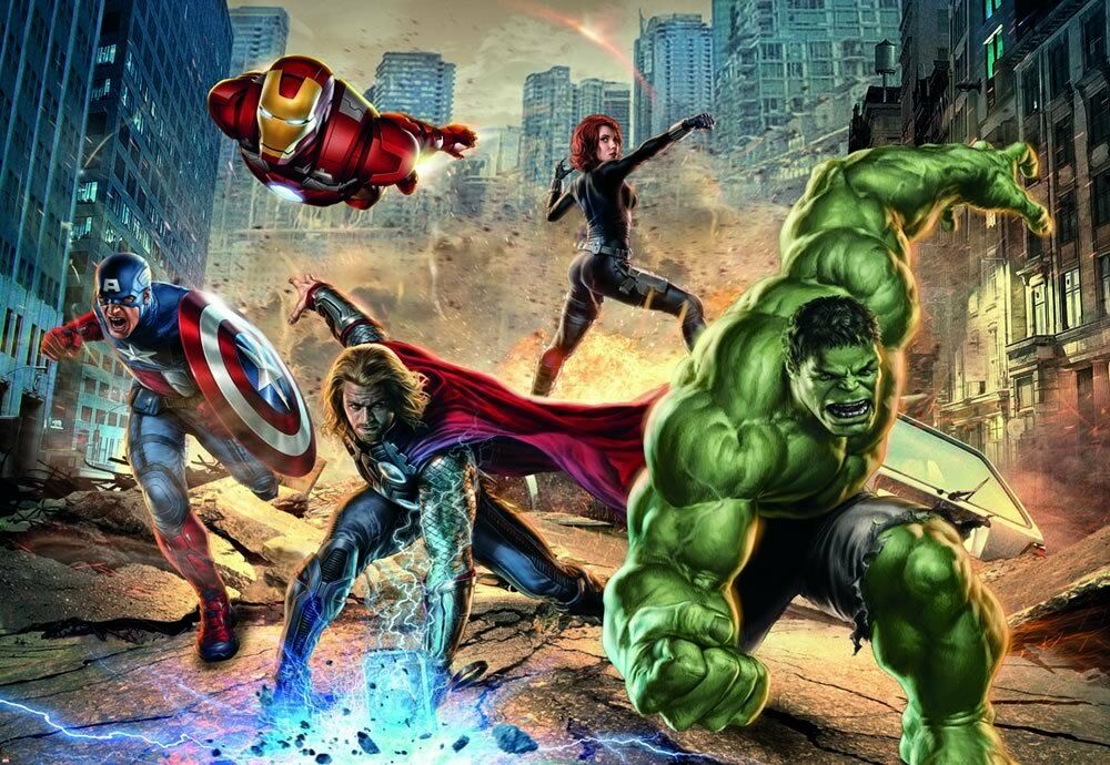 Street fighting avengers marvel comics photo wallpaper for Avengers mural poster