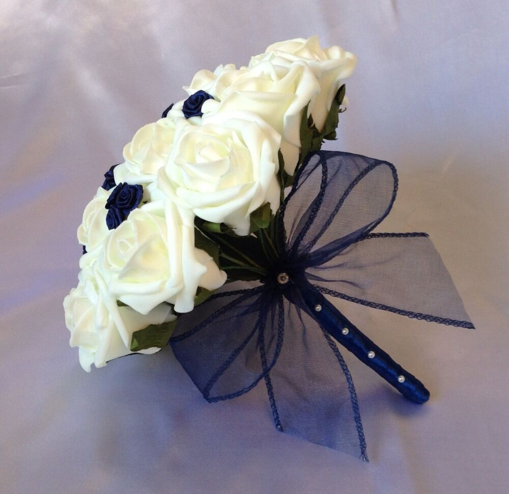 Navy Blue And White Wedding Bouquets : Wedding flowers artificial ivory navy blue foam rose