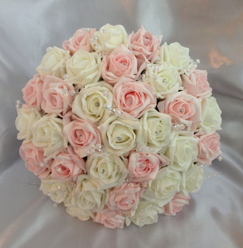artificial wedding flowers pink ivory foam rose brides crystal bouquet