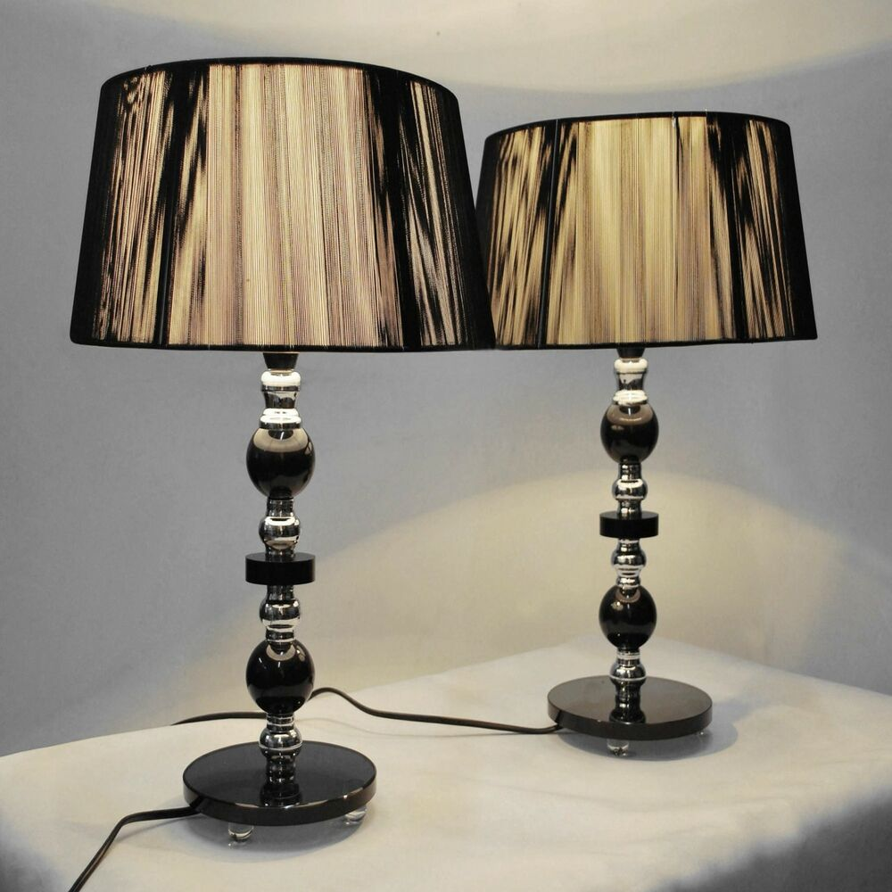 pair of new bedside table designer modern lamps ebay. Black Bedroom Furniture Sets. Home Design Ideas