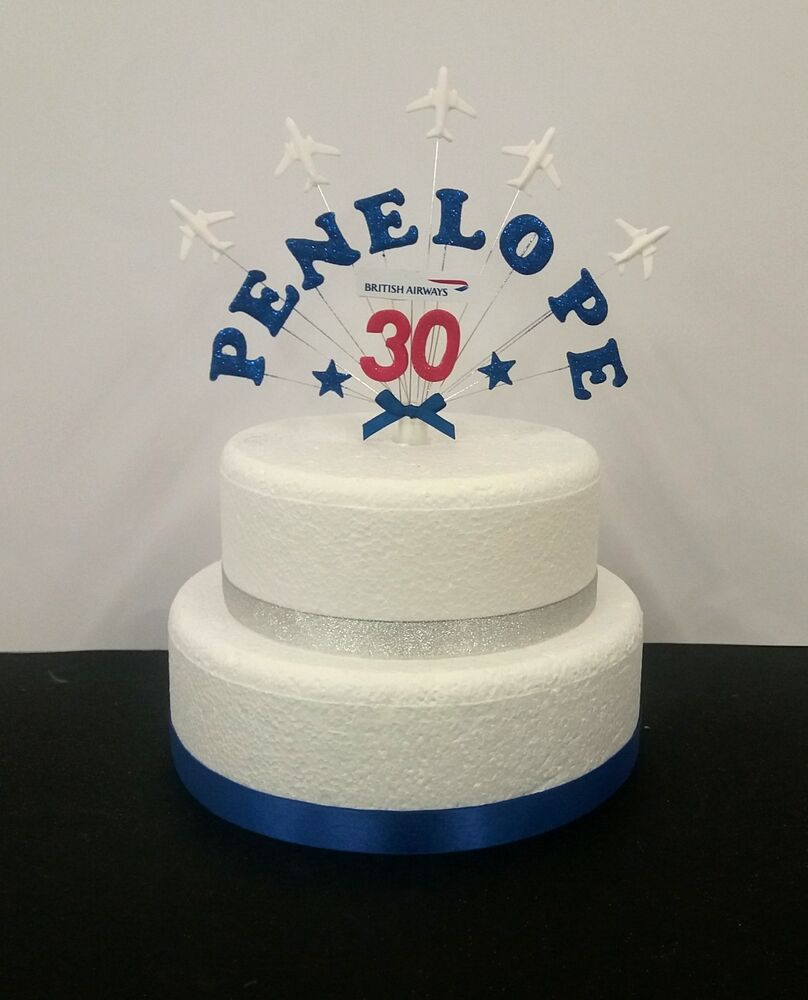 Aeroplane Plane Birthday Cake Topper Personalised Name And Age