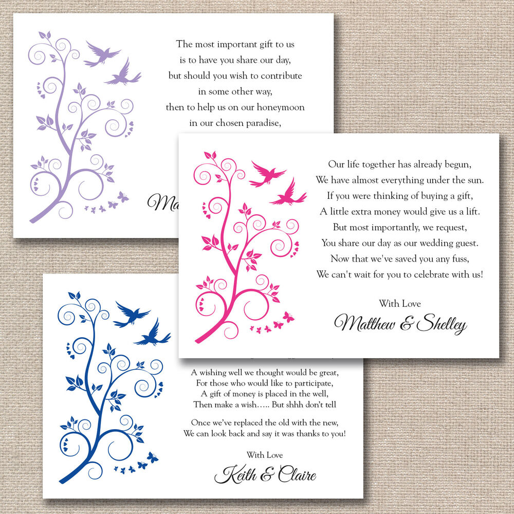 Cash Wedding Gift Calculator Uk : ... Butterflies Wedding Poem Cards For Invitations Money Cash Gift eBay