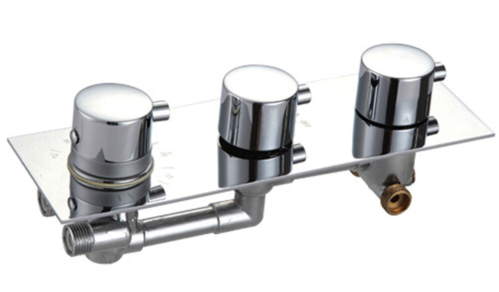 Thermostatic Concealed Triple Shower Valve Mixer Round