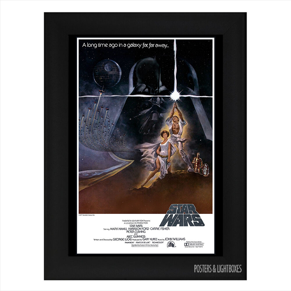 star wars a new hope framed film movie poster a4 black
